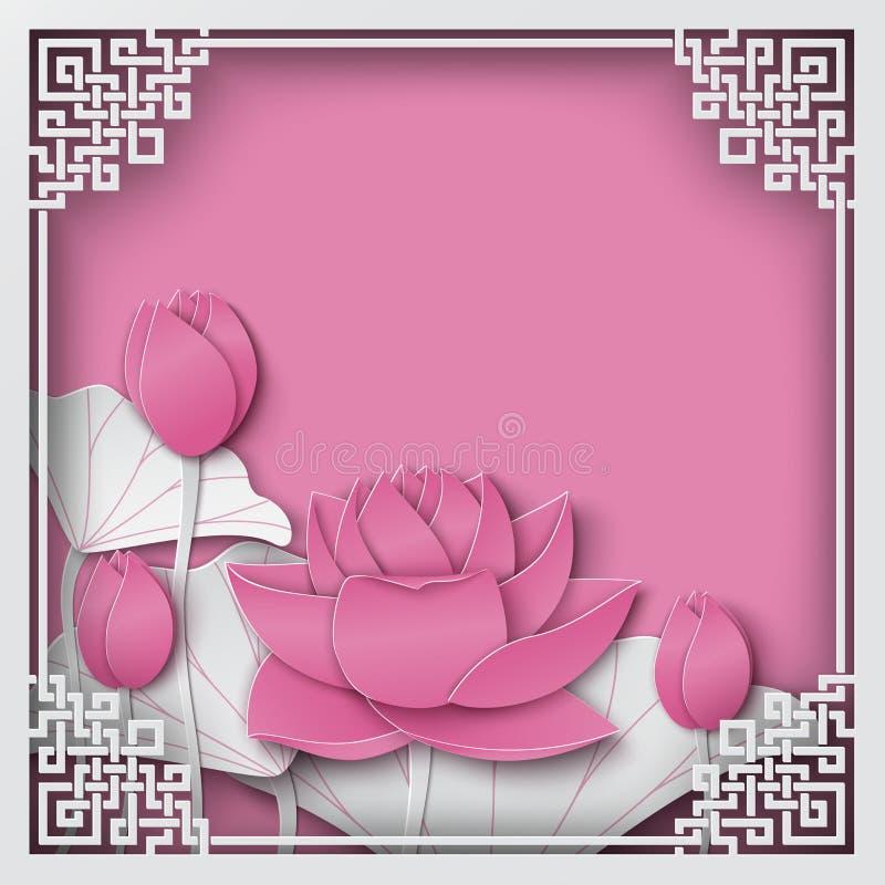 Marco chino abstracto del cuadrado del modelo con el backgroun rosado floral stock de ilustración