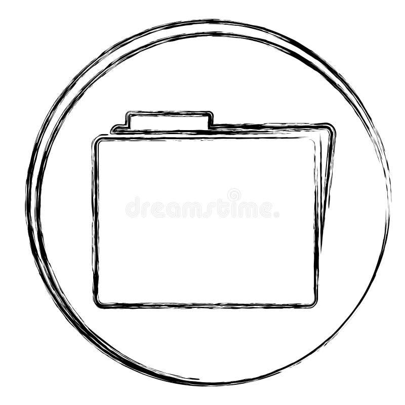 marco circular borroso de la silueta con el icono de la carpeta stock de ilustración