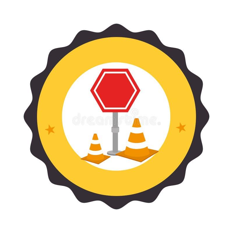 Marco circular con el pictograma de la señal de tráfico con el cono del tráfico con las líneas anaranjadas y blancas ilustración del vector