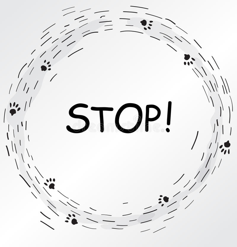 Marco circular con las impresiones del pie de gato libre illustration