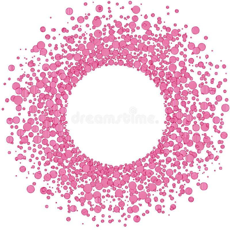 Marco circular de las bolas del rosa de la explosión stock de ilustración