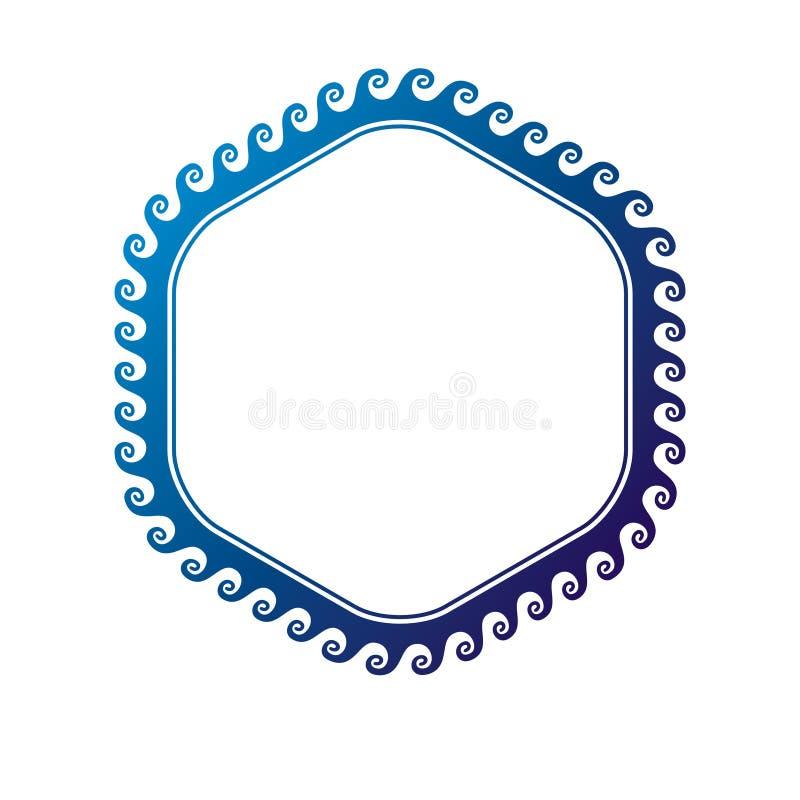 Marco circular del vector victoriano del arte con el espacio en blanco de la copia creado usando la decoraci?n de las olas oce?ni stock de ilustración