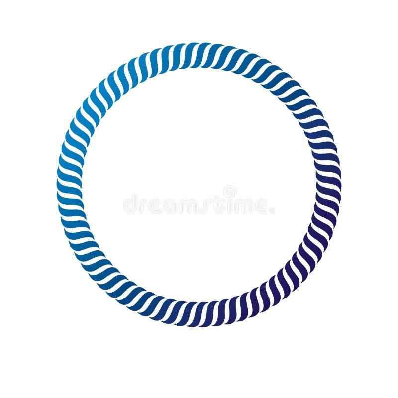Marco circular del vintage decorativo del premio con el espacio claro de la copia hecho como diseño de la cuerda Etiqueta retra d libre illustration