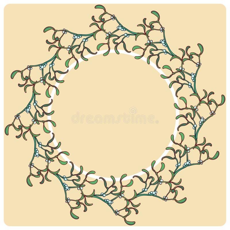 Marco circular floral de la Navidad Ramas del muérdago con las hojas y las bayas Plantilla de la tarjeta de felicitación de la Na libre illustration