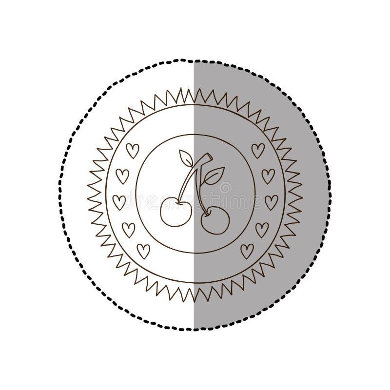 Marco circular monocromático con la etiqueta engomada media de la sombra con los cherrys ilustración del vector