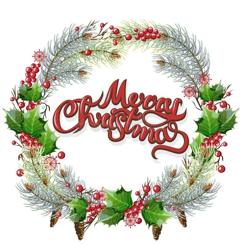 Marco circular ornamental de la Navidad Ramas del acebo y del abeto con las bayas y los conos de las hojas Papá Noel en un trineo stock de ilustración
