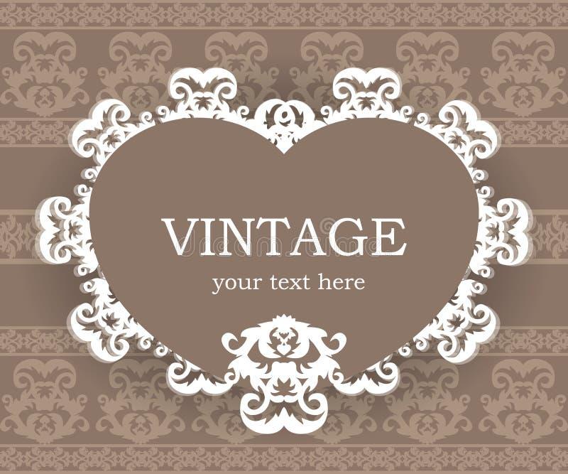 Marco clásico beige Fondo de la vendimia Plantilla elegante del elemento del diseño con el lugar para su texto stock de ilustración
