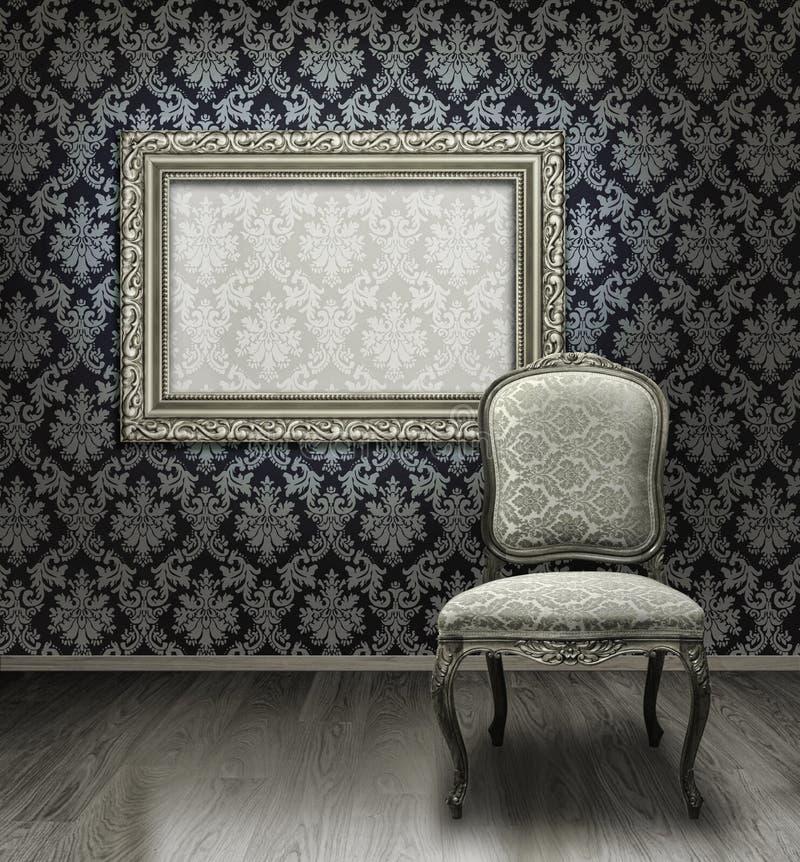 Marco clásico de la silla y de la plata imagenes de archivo