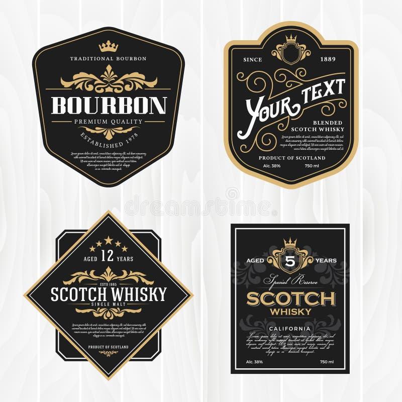 Marco clásico del vintage para las etiquetas del whisky stock de ilustración