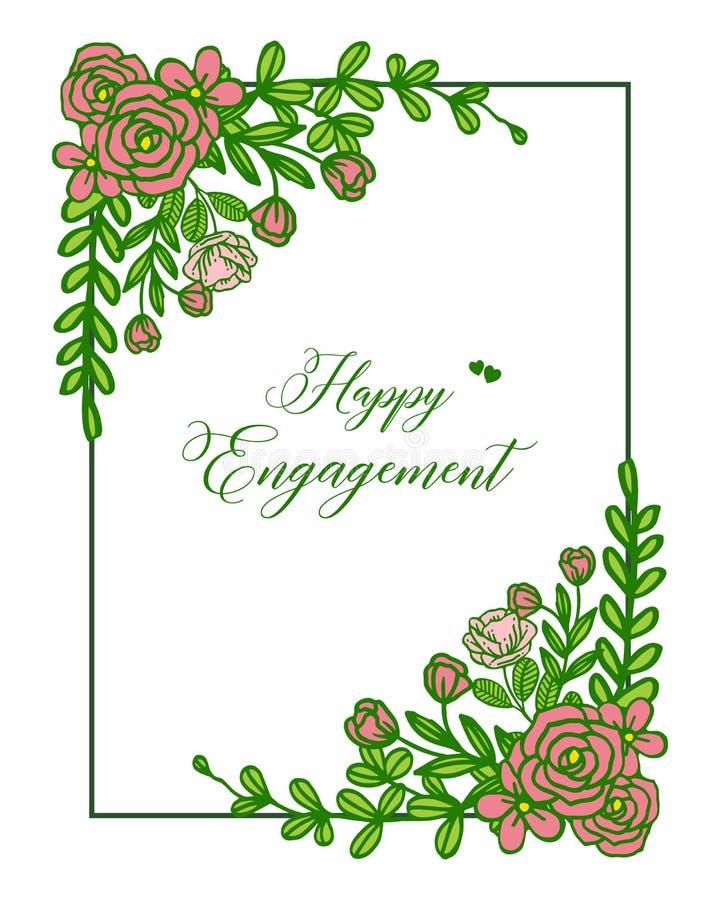 Marco color de rosa elegante de la flor del ejemplo del vector con la tarjeta de felicitación del compromiso feliz stock de ilustración