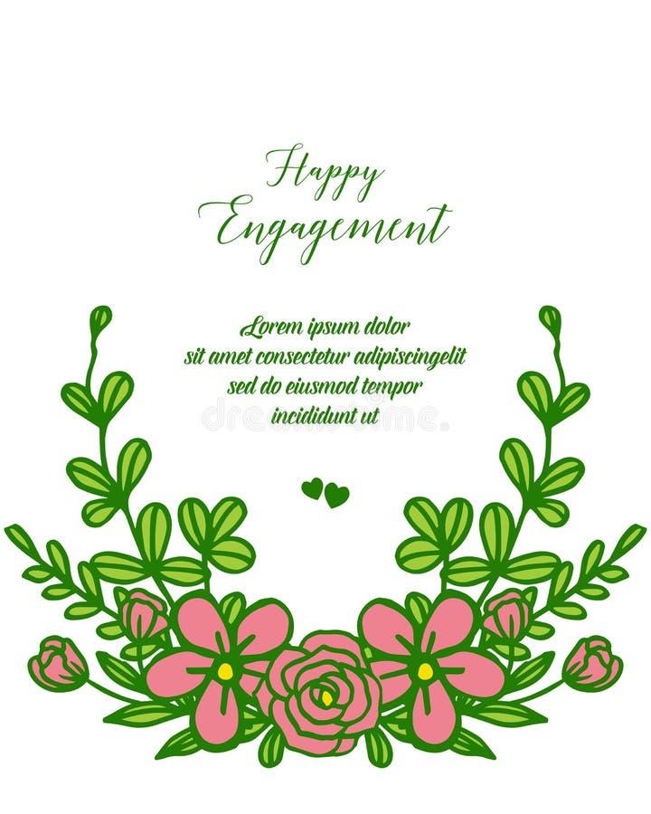 Marco color de rosa elegante de la flor del ejemplo del vector con la tarjeta de felicitación del compromiso feliz libre illustration