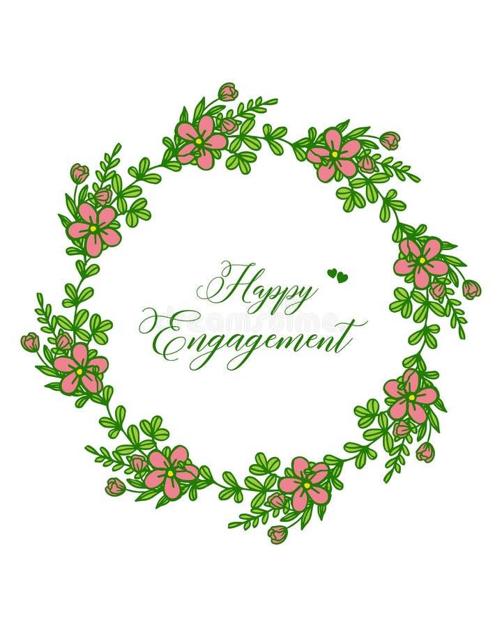Marco color de rosa elegante de la flor del ejemplo del vector con la tarjeta de felicitación del compromiso feliz ilustración del vector