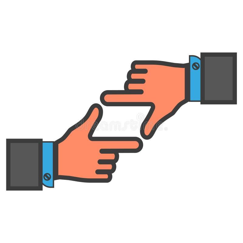 Marco coloreado de fingeres con las manos nIsolated en el fondo blanco ilustración del vector