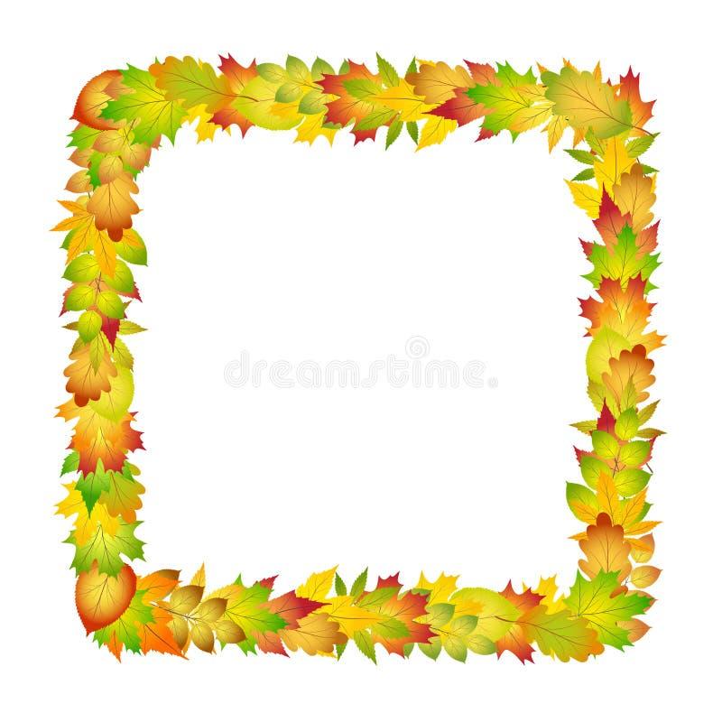 Marco colorido brillante de las hojas de otoño para el diseño en el ejemplo blanco, común del vector stock de ilustración