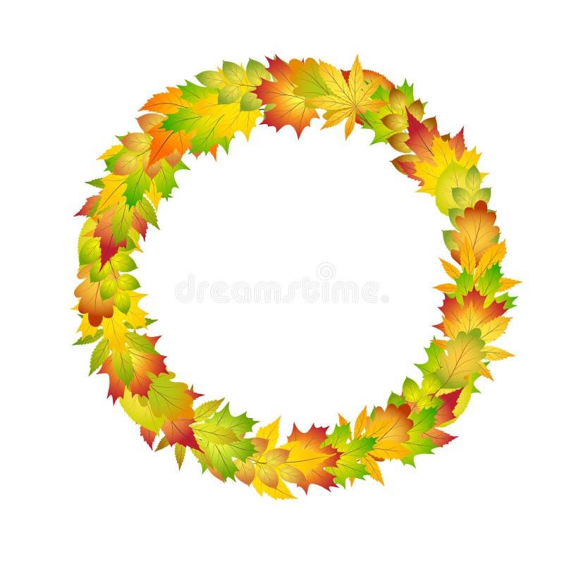 Marco colorido brillante del círculo de las hojas de otoño para el diseño en el ejemplo blanco, común del vector ilustración del vector