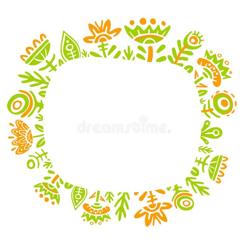 Marco colorido de la flor del cuento de hadas de la fantasía en el fondo blanco Dibujo del niño, plantas de hadas inusuales y flo ilustración del vector