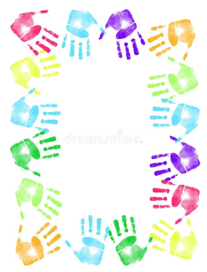 Marco colorido de la impresión de la mano stock de ilustración