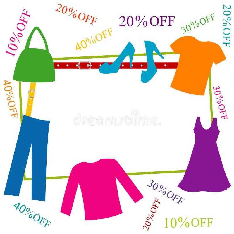 Marco colorido de la ropa y de los accesorios con descuentos ilustración del vector