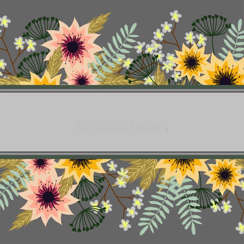 Marco colorido de las flores del vintage libre illustration