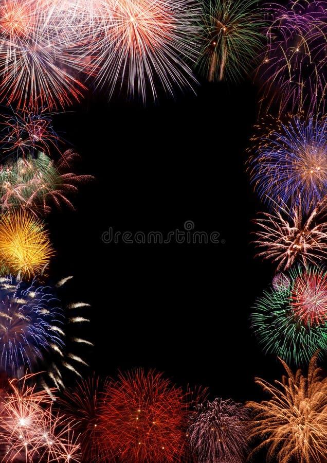 Marco colorido de los fuegos artificiales imagen de archivo libre de regalías