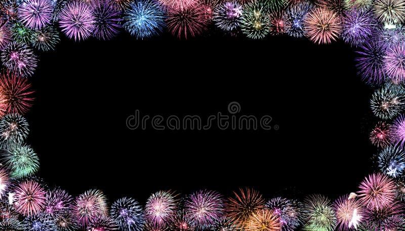 Marco colorido de los fuegos artificiales foto de archivo libre de regalías