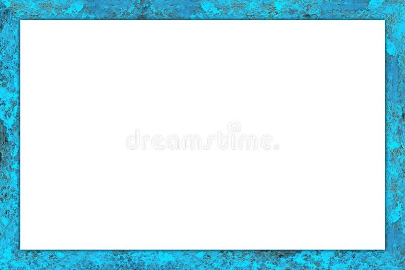 Marco colorido de madera resistido azul viejo fotografía de archivo libre de regalías