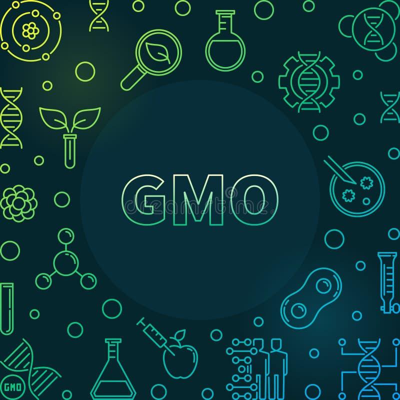 Marco colorido genético modificado del esquema del vector del organismo stock de ilustración