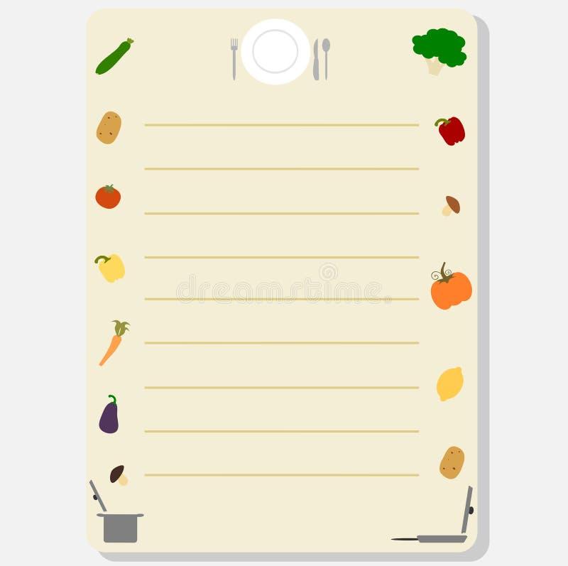 Marco colorido lindo de la plantilla para un ejemplo del libro o de la tarjeta de la receta con las verduras ilustración del vector