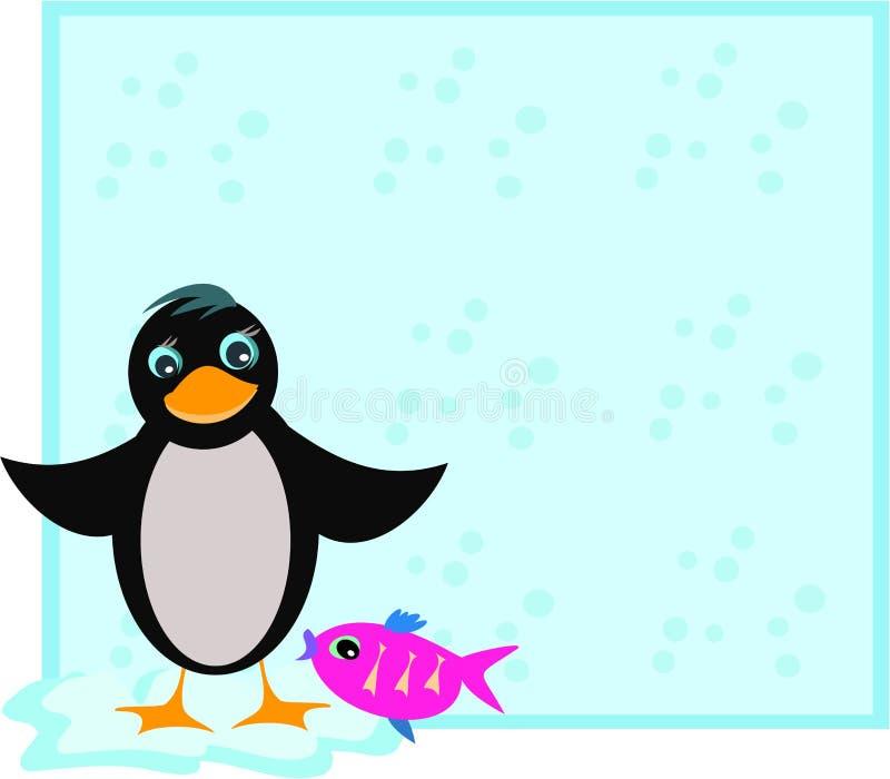 Marco con el pingüino y los pescados stock de ilustración