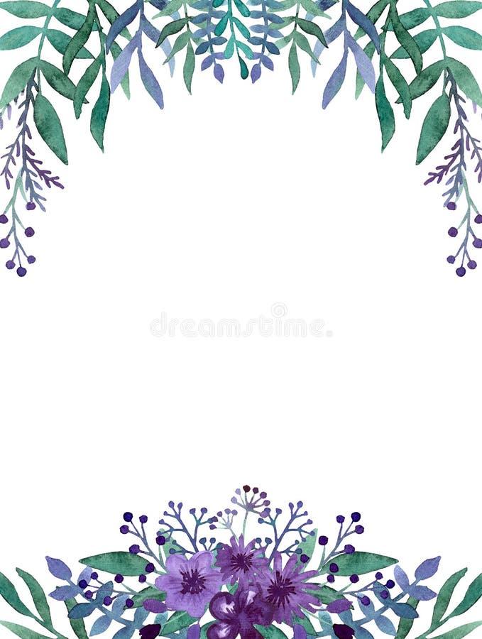 Marco Con La Acuarela Violet Flowers Profunda Y Las Bayas Stock de ...