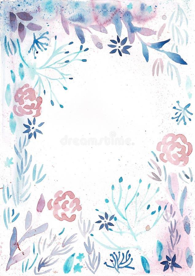 Marco con las flores del rosa de la acuarela y las hojas azules claras stock de ilustración