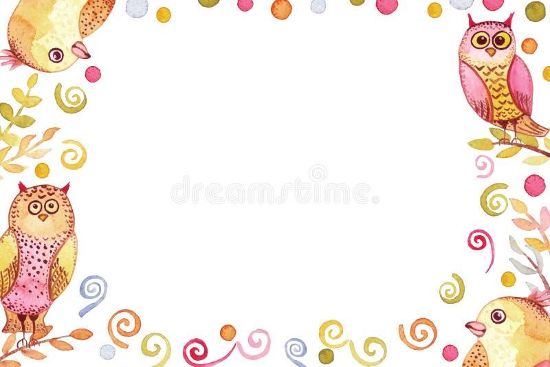 Marco con los pájaros divertidos brillantes de la acuarela y los puntos coloridos libre illustration