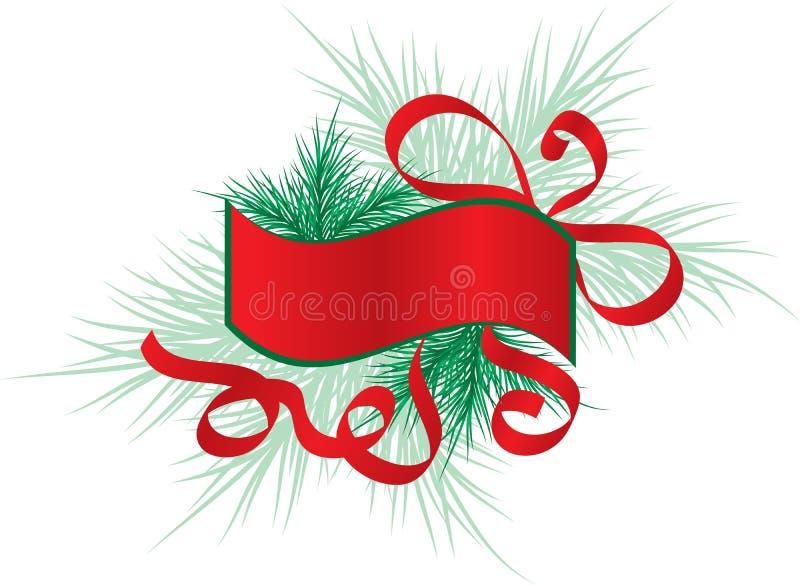 Marco con un árbol de abeto, vector de la Navidad libre illustration