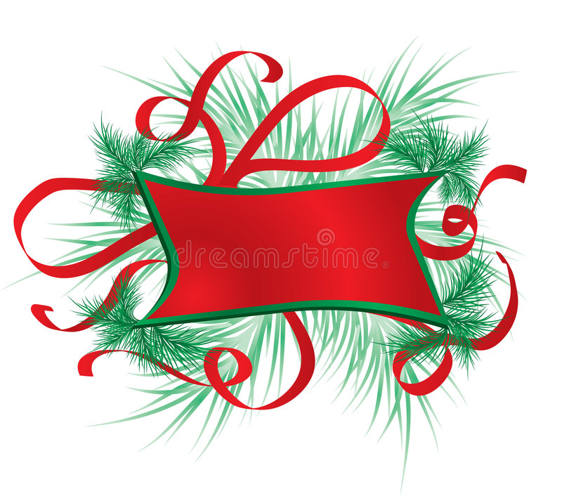 Marco con un piel-árbol, vector de la Navidad stock de ilustración