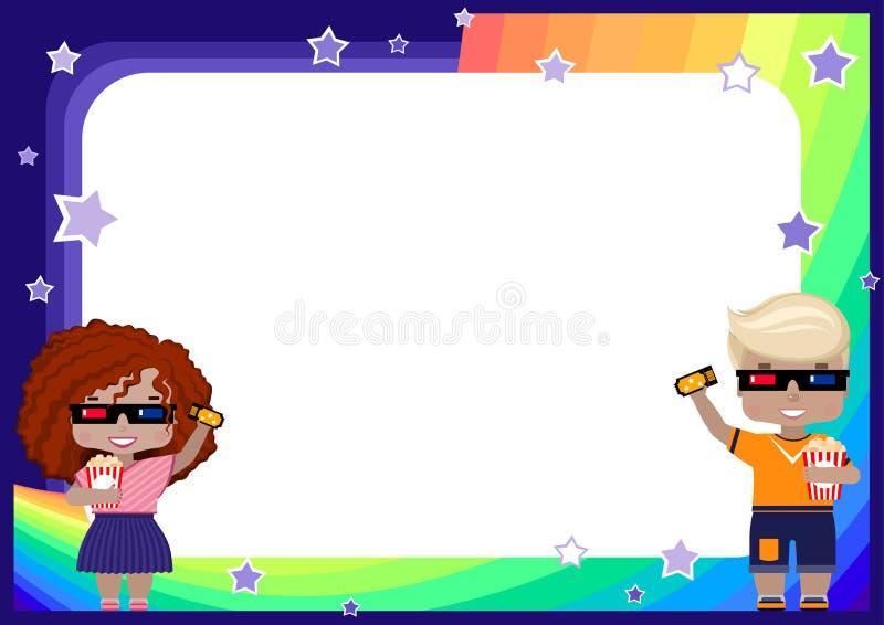 marco con una muchacha y un muchacho en los vidrios 3D, con un boleto al cine y las palomitas, arco iris, cielo y estrellas libre illustration