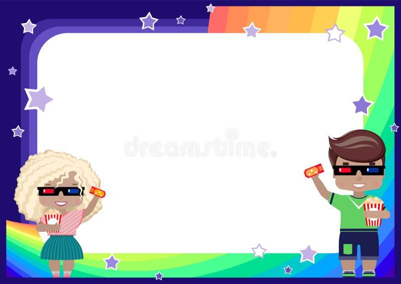 marco con una muchacha y un muchacho en los vidrios 3D, con un boleto al cine y las palomitas, arco iris, cielo y estrellas ilustración del vector