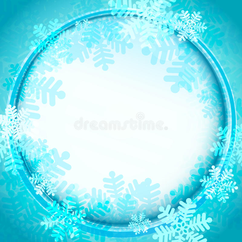 Marco congelado del círculo cubierto por vector azul de los copos de nieve stock de ilustración
