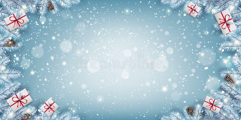 Marco creativo hecho de ramas de abetos nevadas de Navidad, cajas de regalo, copos de nieve, luz, estrellas de fondo azul Feliz N ilustración del vector