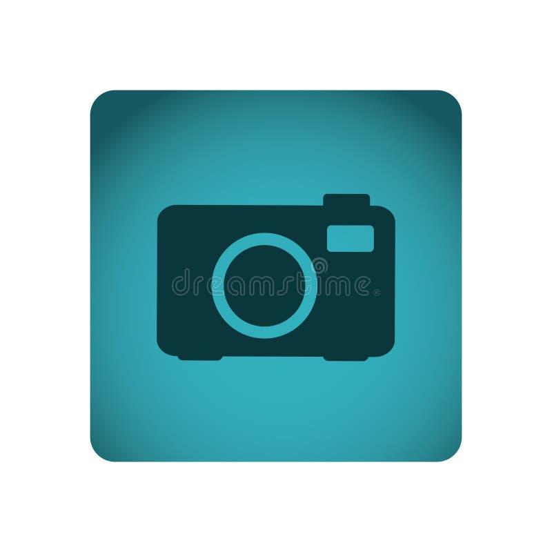 marco cuadrado azul con la cámara digital de la tecnología de la silueta con el flash libre illustration