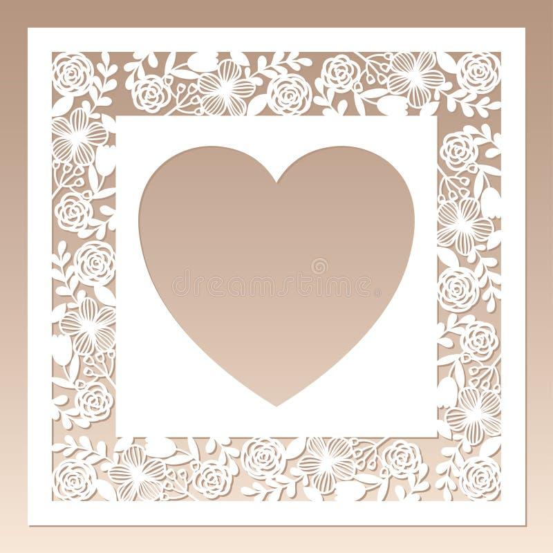 Marco cuadrado a cielo abierto con las flores y el corazón dentro Plantilla de corte del laser stock de ilustración