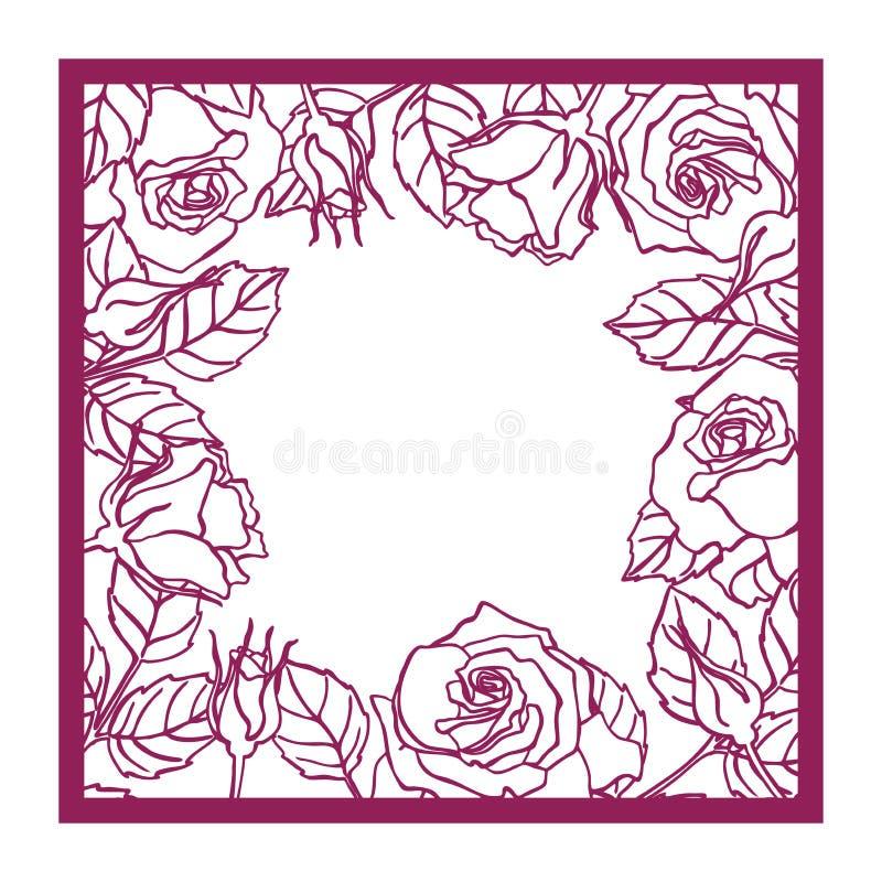 Marco cuadrado color de rosa del corte del laser Wi de la silueta del modelo del recorte stock de ilustración