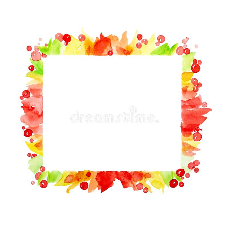 Marco cuadrado colorido del extracto de bayas y hojas coloridas Ejemplo de la acuarela aislado en el fondo blanco stock de ilustración