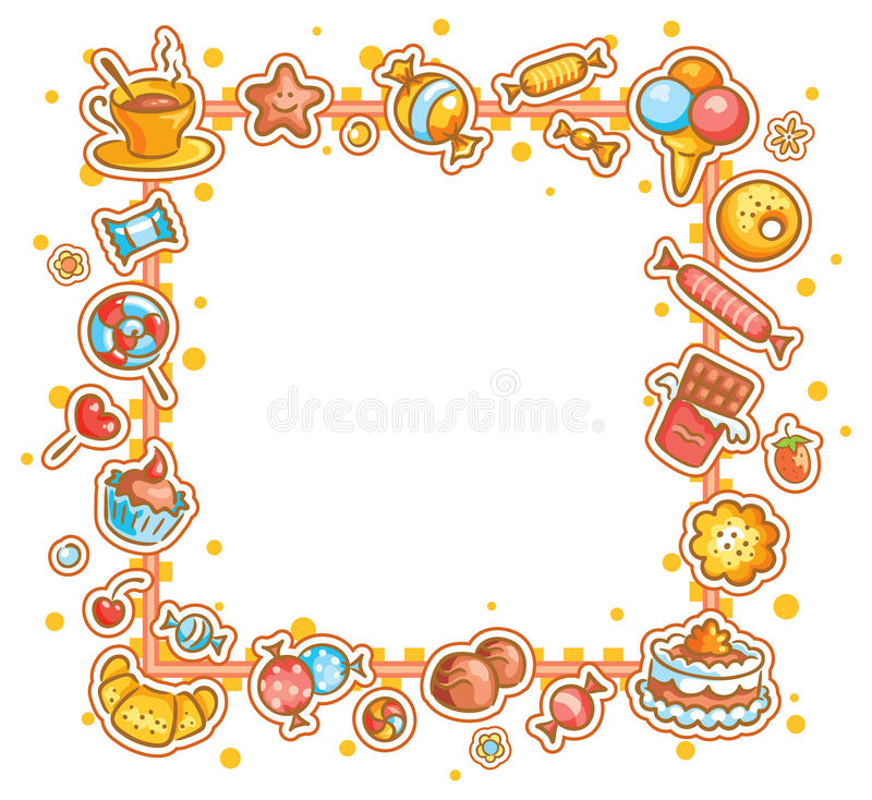 Marco cuadrado con diversos dulces stock de ilustración