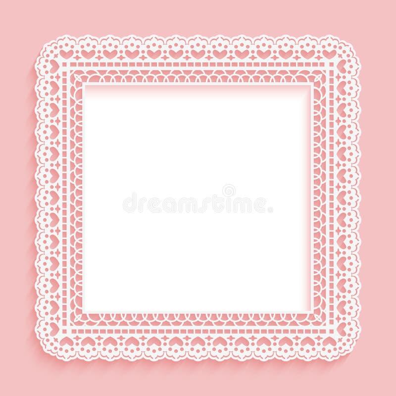 Marco cuadrado con el cordón de papel Rosa de encaje con el fondo blanco libre illustration