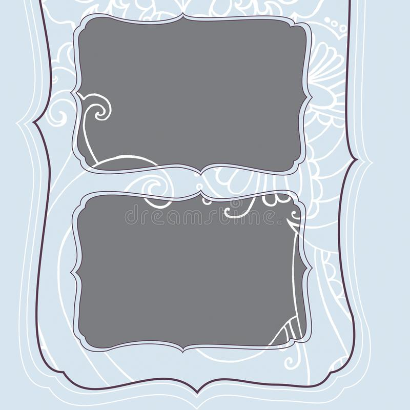 Marco cuadrado con el modelo escarchado azul de la Navidad del invierno stock de ilustración