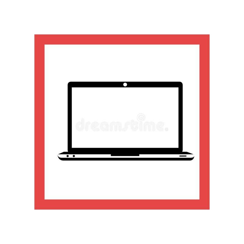 Marco cuadrado con el ordenador portátil negro del contorno stock de ilustración