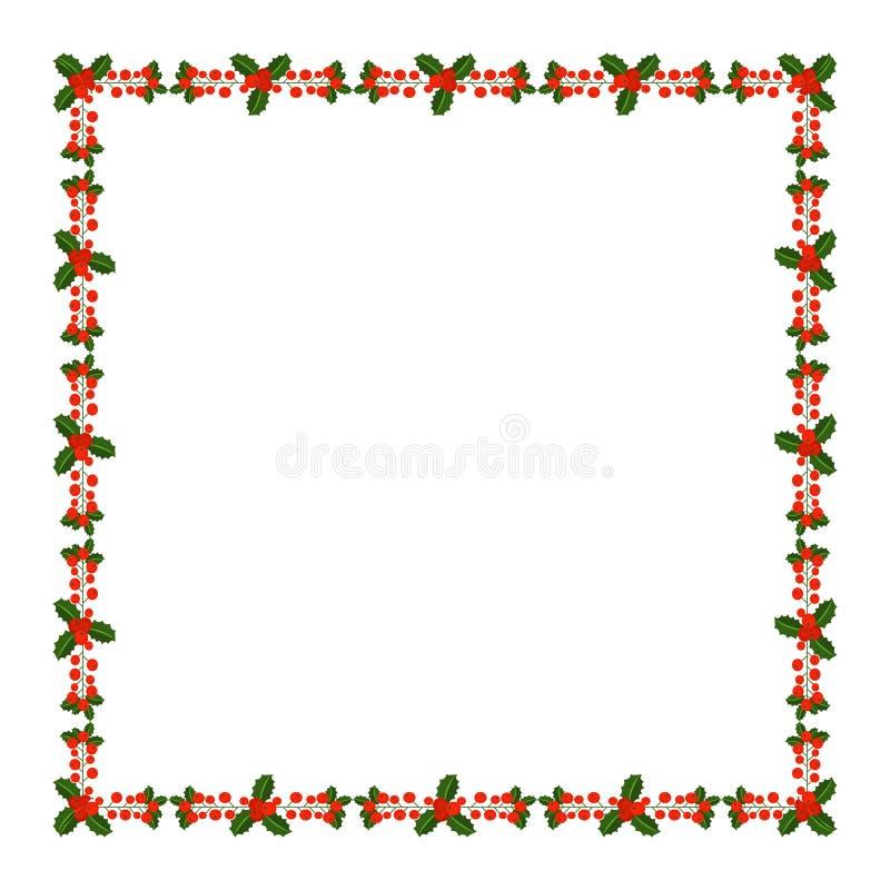 Marco cuadrado con la rama de la baya del acebo Tarjetas de Navidad de las FO de la frontera stock de ilustración