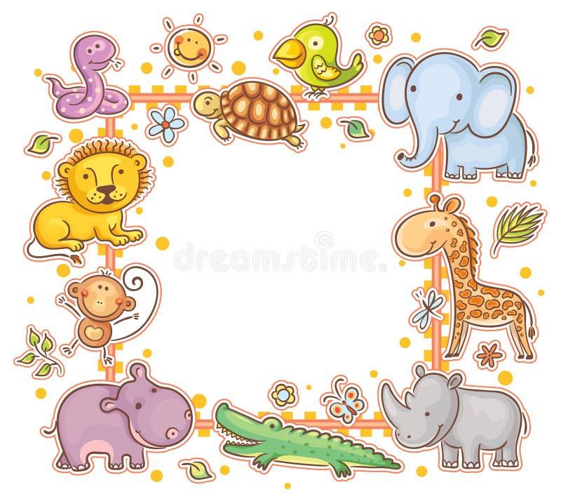 Marco cuadrado con los animales salvajes stock de ilustración