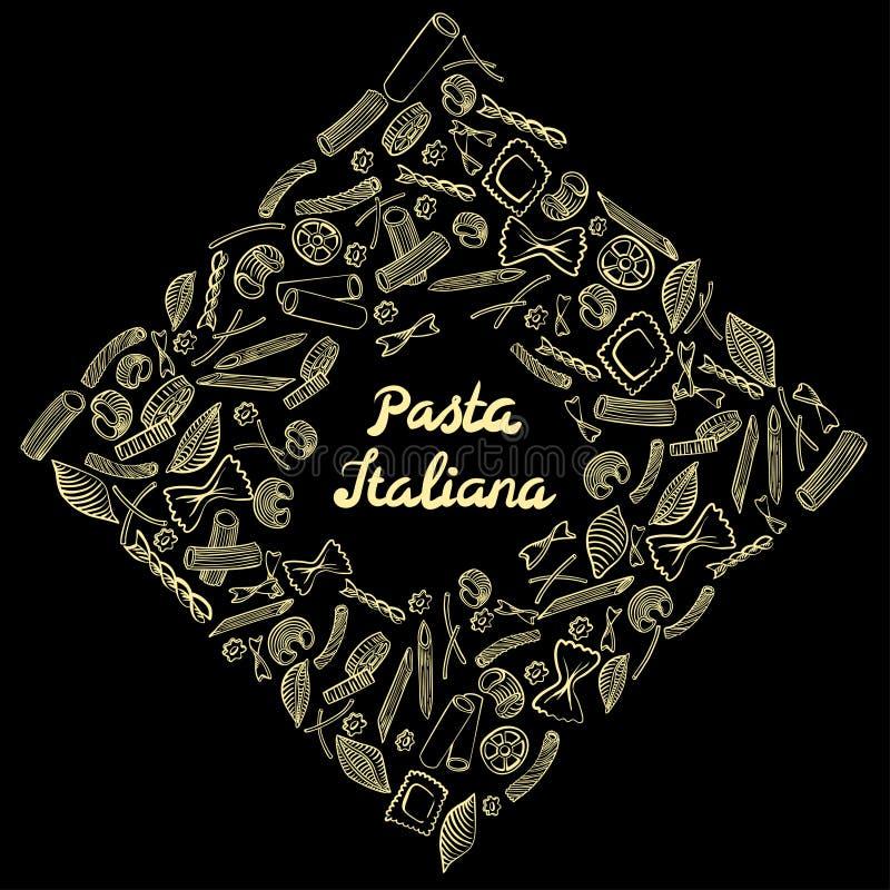 Marco cuadrado con macarrones italianos de diferentes tipos drenaje coloreado amarillo claro de la mano en fondo negro stock de ilustración