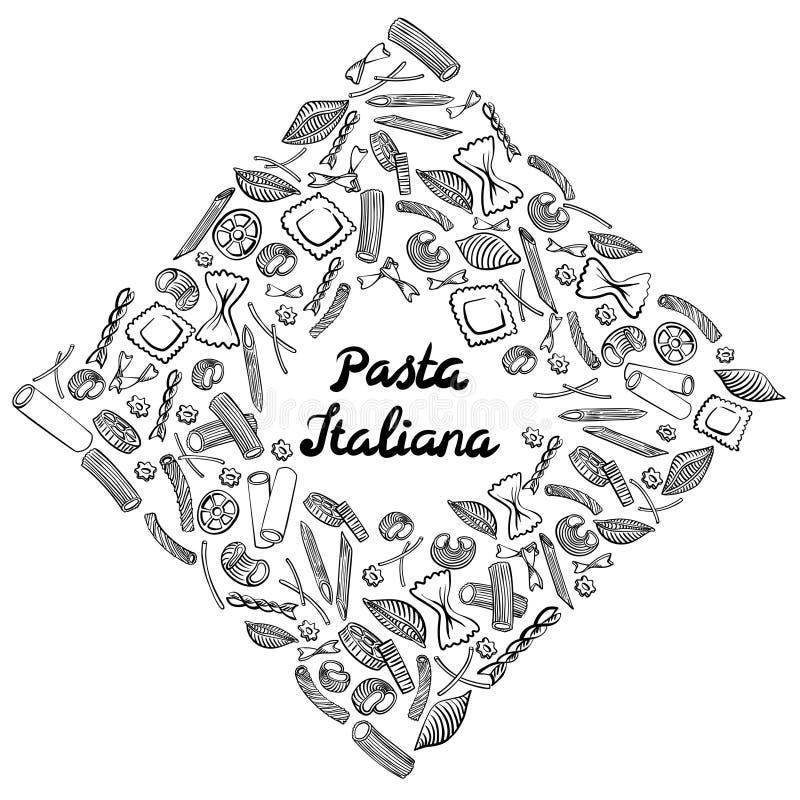 Marco cuadrado con macarrones italianos de diferentes tipos r libre illustration